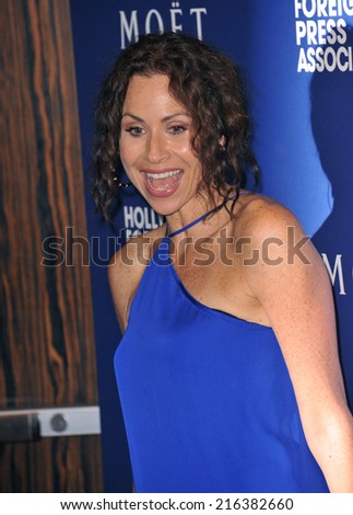 BEVERLY HILLS, CA - AUGUST 14, 2014: Actress Minnie Driver at the Hollywood Foreign Press Association's annual Grants Banquet at the Beverly Hilton Hotel.  - stock photo