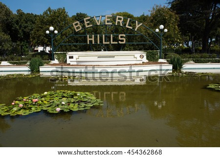 Beverly Hills, CA: 7/16/2016: Beverly Hills Park sign in Beverly Hills.  Beverly Hills was incorporated in 1914. - stock photo