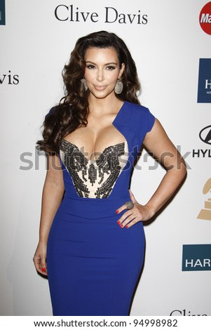 BEVERLY HILLS, CA - FEB 11: Kim Kardashian at the Clive Davis and the Recording Academy's 2012 Pre-GRAMMY Gala on February 11, 2012 in Beverly Hills, California
