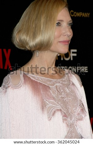 BEVERLY HILLS, CA - JAN. 10: Cate Blanchette arrives at the Weinstein Company and Netflix 2016 Golden Globes After Party on Sunday, January 10, 2016 at the Beverly Hilton Hotel in Beverly Hills, CA.  - stock photo