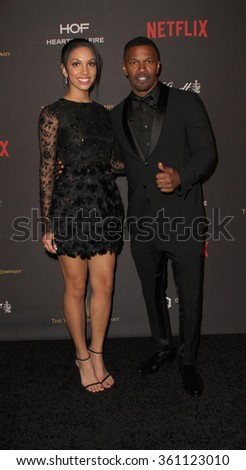 BEVERLY HILLS, CA - JAN. 10: Corinne Foxx & Jamie Foxx arrive at the Weinstein Company & Netflix 2016 Golden Globes After Party on Sunday on Jan. 10, 2016, Beverly Hilton Hotel in Beverly Hills, CA.  - stock photo