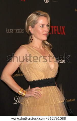 BEVERLY HILLS, CA - JAN. 10: Gillian Anderson arrives at the Weinstein Company and Netflix 2016 Golden Globes After Party on Sunday, January 10, 2016 at the Beverly Hilton Hotel in Beverly Hills, CA.  - stock photo