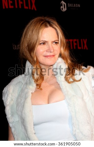 BEVERLY HILLS, CA - JAN. 10: Jennifer Jason Leigh arrives at the Weinstein Company and Netflix 2016 Golden Globes After Party, Sunday, January 10, 2016 at the Beverly Hilton Hotel, Beverly Hills, CA.  - stock photo