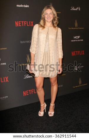 BEVERLY HILLS, CA - JAN. 10: Joanna Christie arrives at the Weinstein Company and Netflix 2016 Golden Globes After Party on Sunday, January 10, 2016 at the Beverly Hilton Hotel in Beverly Hills, CA.  - stock photo