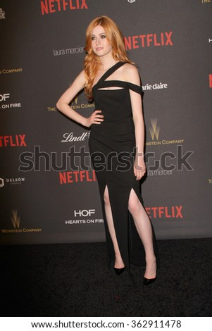 BEVERLY HILLS, CA - JAN. 10: Katherine McNamara arrives at the Weinstein Company and Netflix 2016 Golden Globes After Party on Sunday, Jan. 10, 2016 at the Beverly Hilton Hotel in Beverly Hills, CA.  - stock photo