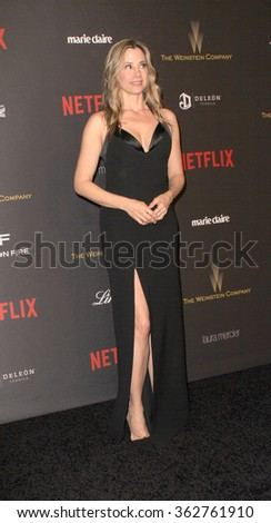 BEVERLY HILLS, CA - JAN. 10: Mira Sorvino arrives at the Weinstein Company and Netflix 2016 Golden Globes After Party on Sunday, January 10, 2016 at the Beverly Hilton Hotel in Beverly Hills, CA.  - stock photo