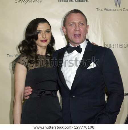 BEVERLY HILLS, CA - JAN. 13: Rachel Weisz & Daniel Craig arrive at the Weinstein Company's 2013 Golden Globes After Party on Sunday, January 13, 2013 at the Beverly Hilton Hotel in Beverly Hills, CA. - stock photo