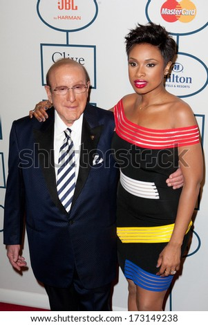 BEVERLY HILLS, CA. - JANUARY 25: Clive Davis & Jennifer Hudson arrive at the Clive Davis & The Recording Academy annual Pre-GRAMMY Gala on January 25th 2014 at the Beverly Hilton in Beverly Hills. - stock photo