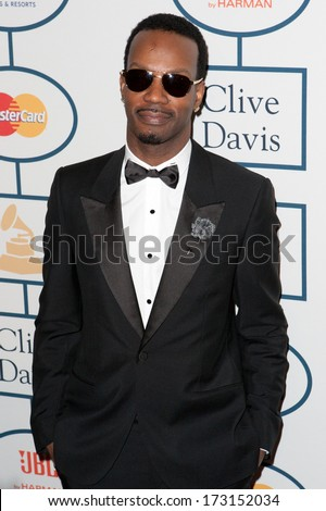 BEVERLY HILLS, CA. - JANUARY 25: Juicey J arrives at the Clive Davis and The Recording Academy annual Pre-GRAMMY Gala on January 25th 2014 at the Beverly Hilton in Beverly Hills, California. - stock photo