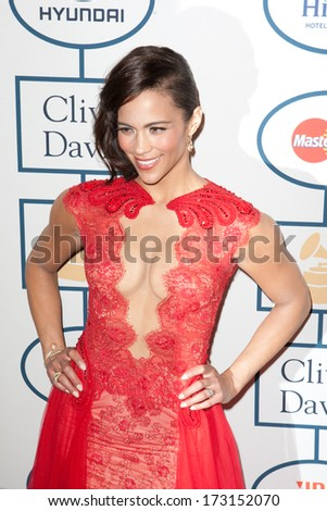 BEVERLY HILLS, CA. - JANUARY 25: Paula Patton arrives at the Clive Davis and The Recording Academy annual Pre-GRAMMY Gala on January 25th 2014 at the Beverly Hilton in Beverly Hills, California. - stock photo