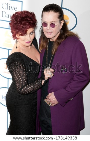 BEVERLY HILLS, CA. - JANUARY 25: Sharon & Ozzy Osbourne arrive at the Clive Davis & The Recording Academy annual Pre-GRAMMY Gala on January 25th 2014 at the Beverly Hilton in Beverly Hills. - stock photo