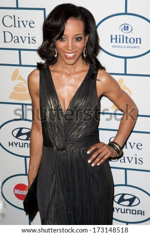 BEVERLY HILLS, CA. - JANUARY 25: Shaun Robinson arrives at the Clive Davis and The Recording Academy annual Pre-GRAMMY Gala on January 25th 2014 at the Beverly Hilton in Beverly Hills, California. - stock photo