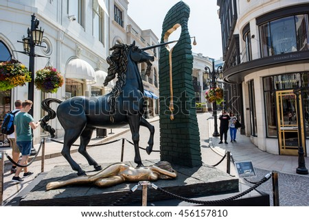 Beverly Hills, CA: July 14, 2016: Dali Exhibit at Two Rodeo Drive art exhibit, which showcases 12 art sculptures by Salvador Dali.  Salvador Dali was a surrealist painter.