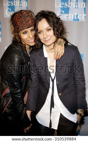 BEVERLY HILLS, CA - MAY 19, 2012: Linda Perry and Sara Gilbert at the L.A. Gay and Lesbian Center's 'An Evening With Women' held at the Beverly Hilton Hotel in Beverly Hills, USA on May 19, 2012. - stock photo
