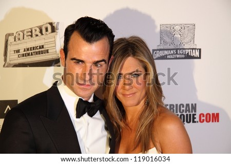 BEVERLY HILLS, CA - NOVEMBER 15, 2012: Jennifer Aniston and Justin Theroux arrive at the American Cinematheque Awards tribute to Ben Stiller on November 15, 2012 in Beverly Hills, Ca. - stock photo