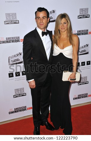BEVERLY HILLS, CA - NOVEMBER 15, 2012: Jennifer Aniston & Justin Theroux at the 26th Annual American Cinematheque Awards Ceremony honoring actor Ben Stiller at the Beverly Hilton Hotel. - stock photo