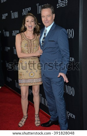 "BEVERLY HILLS, CA - OCTOBER 27, 2015: Bryan Cranston & Diane Lane at the US premiere of their movie ""Trumbo"" at the Academy of Motion Picture Arts & Sciences - stock photo"