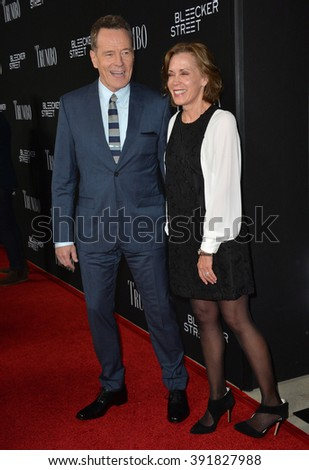 "BEVERLY HILLS, CA - OCTOBER 27, 2015: Bryan Cranston & wife Robin Dearden at the US premiere of his movie ""Trumbo"" at the Academy of Motion Picture Arts & Sciences - stock photo"