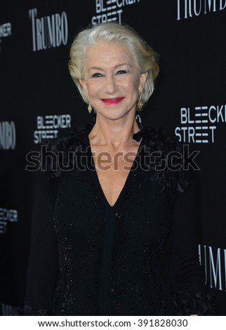 "BEVERLY HILLS, CA - OCTOBER 27, 2015: Dame Helen Mirren at the US premiere of her movie ""Trumbo"" at the Academy of Motion Picture Arts & Sciences - stock photo"