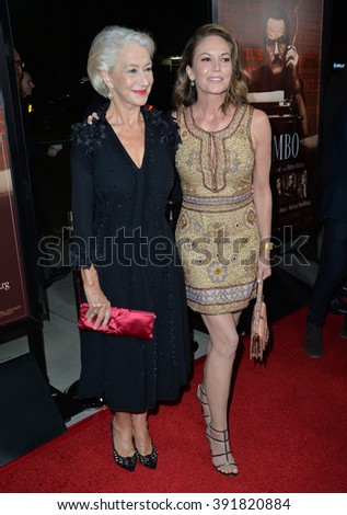 "BEVERLY HILLS, CA - OCTOBER 27, 2015: Dame Helen Mirren & Diane Lane (right) at the US premiere of their movie ""Trumbo"" at the Academy of Motion Picture Arts & Sciences"
