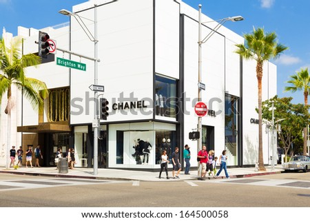 BEVERLY HILLS, CA - SEP 20: Chanel Store in Rodeo Drive in Beverly Hills on September 20, 2013. Rodeo Drive is an affluent shopping district known for designer label and haute couture fashion. - stock photo