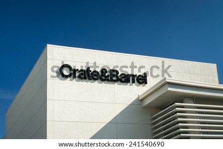 BEVERLY HILLS, CA/USA - JANUARY 3, 2015: Crate and Barrel retail store exterior. Crate and Barrel is an American chain of retail stores specializing in housewares, furniture and home accessories. - stock photo