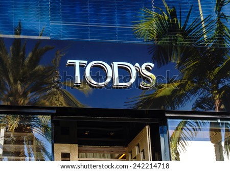 BEVERLY HILLS, CA/USA - JANUARY 3, 2015: Tod's retail store exterior. Tod's Group is an Italian company which produces luxury shoes and other leather goods. - stock photo