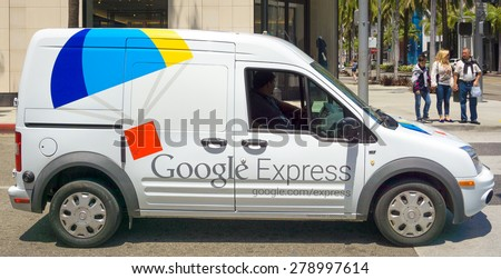 BEVERLY HILLS, CA/USA - MAY 10, 2015: Google Express delivery van. Google Express is a same-day shopping service owned by Google. - stock photo