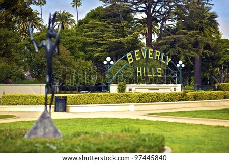 Beverly Hills California. Beverly Hills Sign in the Park. Horizontal Photo. - stock photo