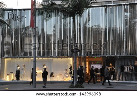 BEVERLY HILLS, CALIFORNIA - DECEMBER 7: Christian Dior store at Rodeo Drive as seen on December 7, 2012 in Beverly Hills, California. There are more than 100 world-renowned boutiques in this area. - stock photo