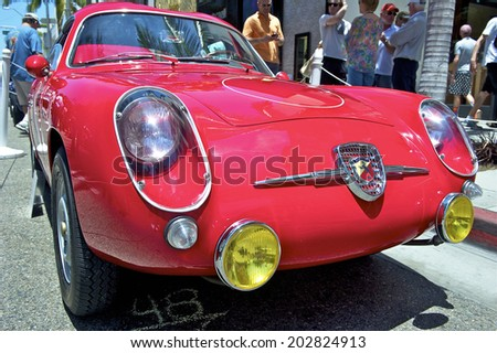 BEVERLY HILLS, CALIFORNIA - JUNE 15, 2014: 1957 Abarth Zagato 750 GT Corsa owned by Carl Gustav Magnusson at the Rodeo Drive Concours D'Elegance on June 15, 2014 Beverly Hills, California, USA