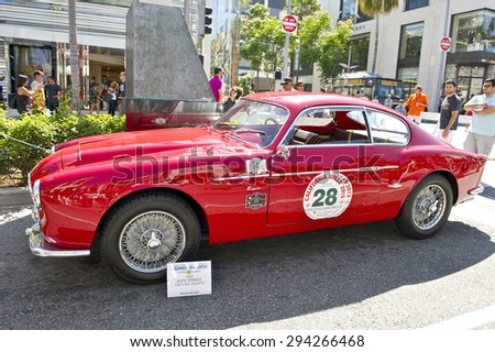 BEVERLY HILLS, CALIFORNIA - JUNE 21, 2015: 1956 Alpha Romeo 1900 CSS Zagata on display at the Rodeo Drive Concours D'Elegance on June 21, 2015 Beverly Hills, California, USA - stock photo