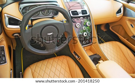 BEVERLY HILLS/CALIFORNIA - JUNE 15, 2014: Astin Martin Vanquish interior at the Rodeo Drive Concours D'Elegance June 15, 2014 Beverly Hills, California USA - stock photo