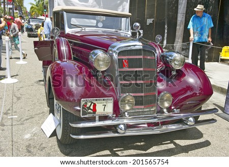 BEVERLY HILLS, CALIFORNIA - JUNE 15, 2014: 1934 Cadillac 355 D Convertible Coupe owned by Larry & Diane Bloomer at the Rodeo Drive Concours D'Elegance on June 15, 2014 Beverly Hills, California, USA  - stock photo