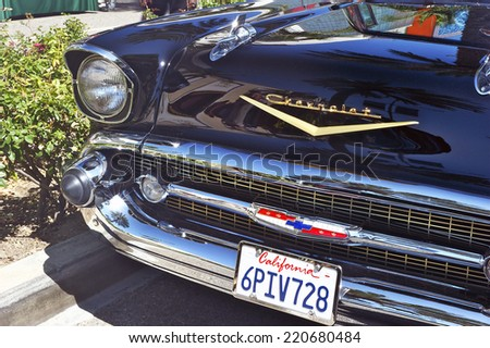 BEVERLY HILLS/CALIFORNIA - JUNE 16, 2013: Classic Chevy front view of grille and headlight on display at the Concours D'Elegance June 16, 2013 Beverly Hills, California USA - stock photo