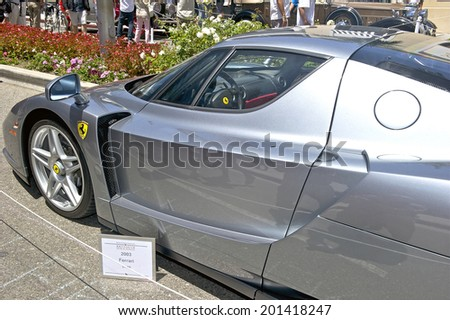 BEVERLY HILLS/CALIFORNIA - JUNE 15, 2014: 2003 Ferrari Enzo owned by Bob Cohen at the Rodeo Drive Concours D'Elegance June 15, 2014 Beverly Hills, California, USA