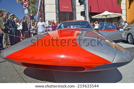 """BEVERLY HILLS, CALIFORNIA - JUNE 16, 2013: 1955 Ghia Streamline X """"Gilda"""" on display at the Rodeo Drive Concours D'Elegance on June 16, 2013 Beverly Hills, California, USA  - stock photo"""