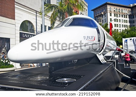 BEVERLY HILLS/CALIFORNIA - JUNE 16, 2013: Mock Bombardier Learjet 85 on display at the Rodeo Drive Concours D'Elegance on June 16, 2013 Beverly Hills, California, USA