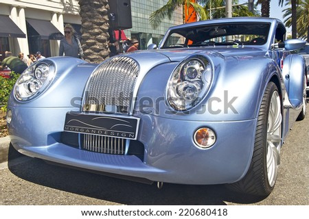 BEVERLY HILLS/CALIFORNIA - JUNE 16, 2013: Morgan on display at the Concours D'Elegance June 16, 2013 Beverly Hills, California USA - stock photo