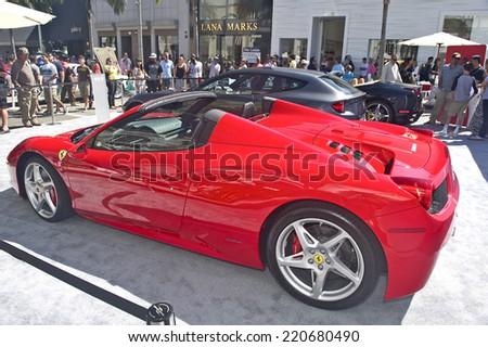 BEVERLY HILLS/CALIFORNIA - JUNE 16, 2013: Pininfarina Ferrari on display at the Concours D'Elegance June 16, 2013 Beverly Hills, California USA - stock photo