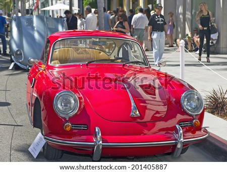 BEVERLY HILLS, CALIFORNIA - JUNE 15, 2014: 1963 Porsche 356 B Coupe owned by Jaime Juarez at the Rodeo Drive Concours D'Elegance on June 15, 2014 Beverly Hills, California, USA