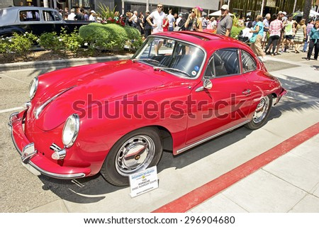 BEVERLY HILLS, CALIFORNIA - JUNE 21, 2015: 1965 Porsche 356SC Sunroof Coupe on display at the Rodeo Drive Concours D'Elegance on June 21, 2015 Beverly Hills, California, USA - stock photo