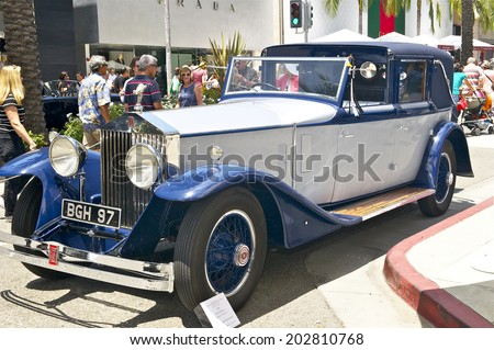 BEVERLY HILLS, CALIFORNIA - JUNE 15, 2014:1930 Rolls-Royce Phantom II Town Car owned by Danny and Phillip Howard at the Rodeo Drive Concours D'Elegance on June 15, 2014 Beverly Hills, California, USA  - stock photo