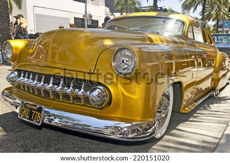 BEVERLY HILLS, CALIFORNIA - JUNE 16, 2013: Vintage classic customized on display at Rodeo Drive Concours D'Elegance on June 16, 2013 Beverly Hills, California, USA  - stock photo