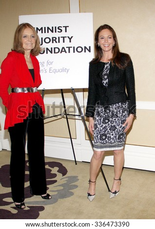 BEVERLY HILLS, CALIFORNIA - May 1, 2012. Gloria Steinem and Diane Lane at the Feminist Majority Foundation event held at the Beverly Hills Hotel, Los Angeles.   - stock photo