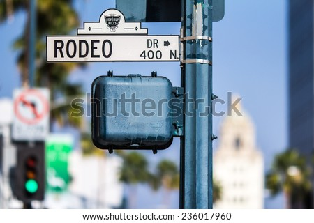 BEVERLY HILLS, CALIFORNIA - NOV 10 2014: Rodeo Drive street sign in Beverly Hills, California. - stock photo