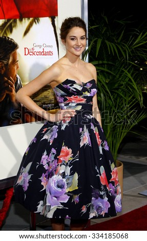 """BEVERLY HILLS, CALIFORNIA - November 15, 2011. Shailene Woodley at the Los Angeles Premiere of """"The Descendants"""" held at the AMPAS Samuel Goldwyn Theater, Los Angeles.  - stock photo"""