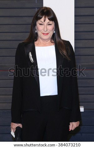 BEVERLY HILLS - FEB 28: Anjelica Huston at the 2016 Vanity Fair Oscar Party on February 28, 2016 in Beverly Hills, California - stock photo