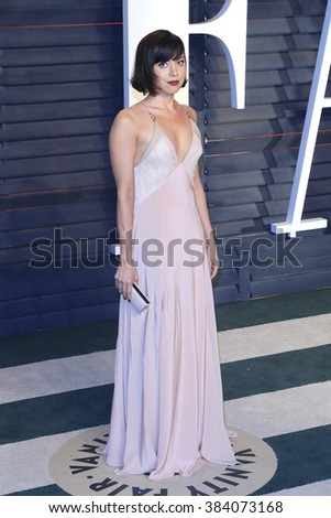 BEVERLY HILLS - FEB 28: Aubrey Plaza at the 2016 Vanity Fair Oscar Party on February 28, 2016 in Beverly Hills, California - stock photo