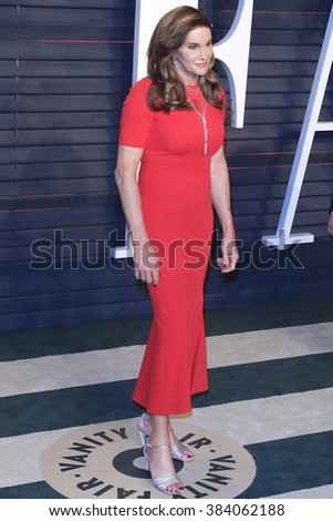 BEVERLY HILLS - FEB 28: Caitlyn Jenner at the 2016 Vanity Fair Oscar Party on February 28, 2016 in Beverly Hills, California - stock photo